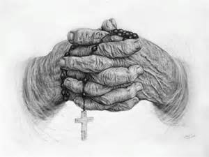 White Bug In Bathroom - wrinkled hands with rosary pencil drawing contemporary fine art prints by the kelly green