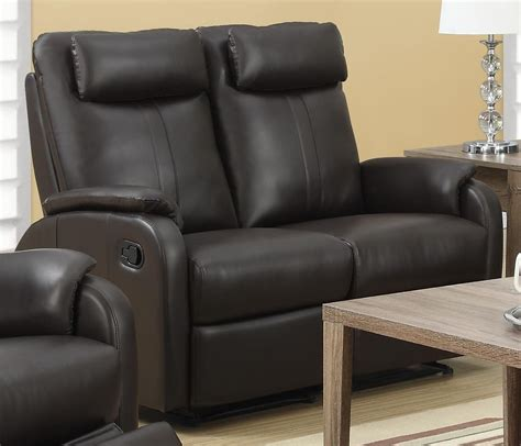 bonded leather loveseat 81br 2 brown bonded leather reclining loveseat from