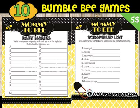 Rustic Home Decor Ideas Pinterest Bumble Bee Baby Shower Game Package Instant Download