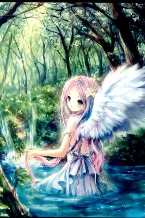 anime girl angel wings angel girl anime forrest woods lake pond art