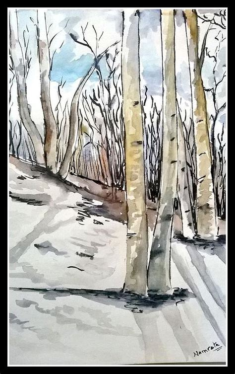 Tree Duvet Cover Birch Trees In Snow Painting By Namrata Bothra