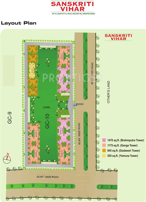 layout plan of palam vihar 555 sq ft 1 bhk 2t apartment for sale in gaursons