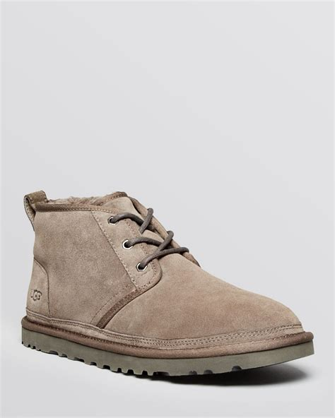 ugg shoes for lyst ugg neumel suede chukka boots in gray for