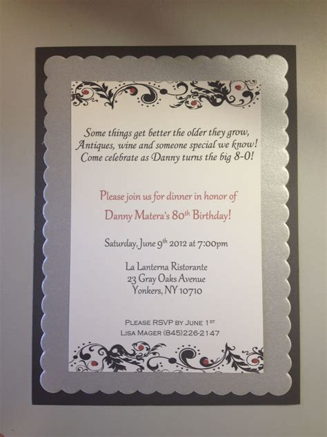 80th birthday invitations   really like the wording on