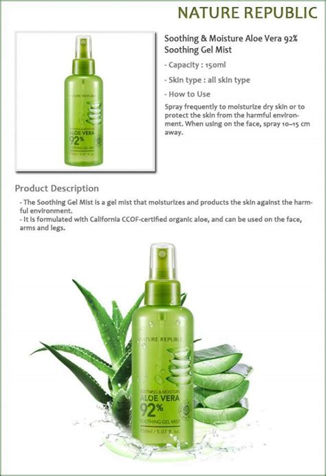 Nature Republic Aloe Vera 92 Soothing Gel Mist Original 20ml nature republic aloe vera 92 soothing gel mist by nature favful