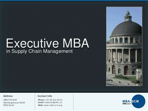 Executive Mba Zurich by Executive Mba In Supply Chain Management At Eth Zurich