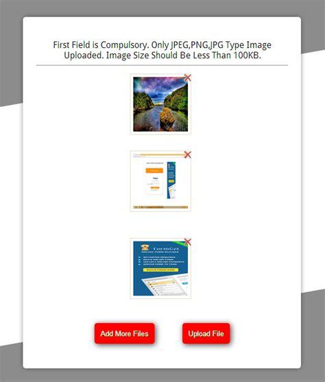 upload multiple images  php  jquery formget