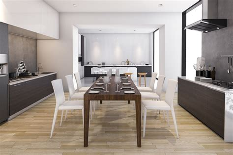wood contemporary kitchen  dining room cgtrader