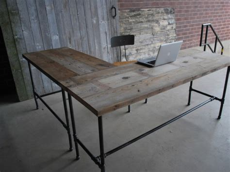industrial desk l l shape modern rustic desk made of reclaimed wood choose