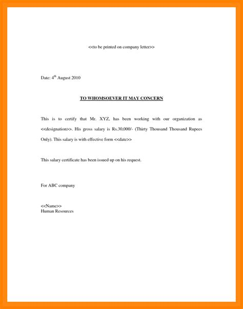 certificate in word 5 simple salary certificate format in word sales slip