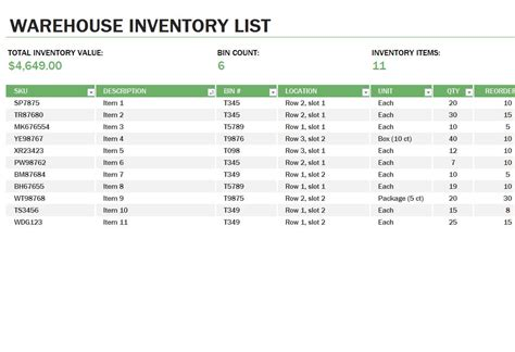 Warehouse Inventory Warehouse Inventory Template Warehouse Inventory Excel Template Free