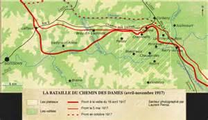 carte du front chemin des avril mai 1917