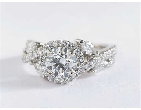 lhuillier floral halo engagement ring in