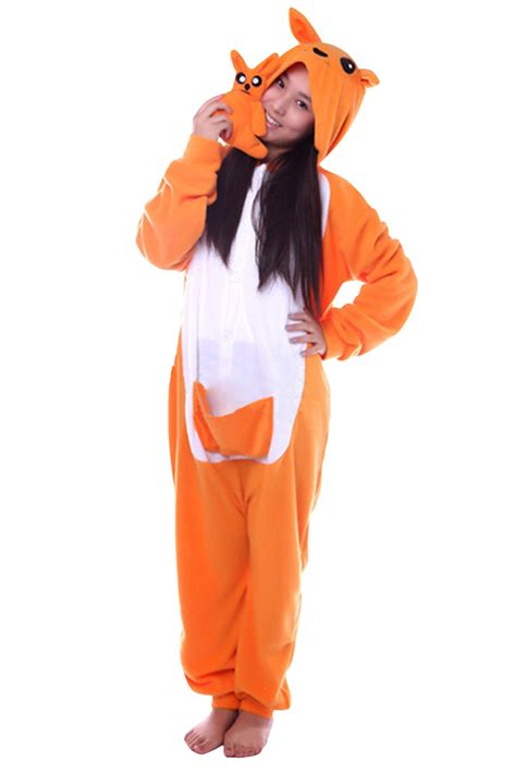 Fox Jumpsuit Pink womens warm hooded fox pajamas jumpsuit costume