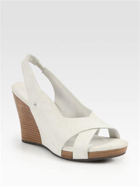 ugg wedge sandals ugg hazel suede slingback wedge sandals in white