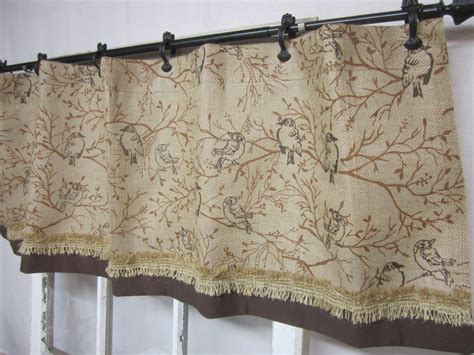 Burlap Kitchen Curtains Burlap Curtain Burlap Valance Bird Printed By Runningwithribbons