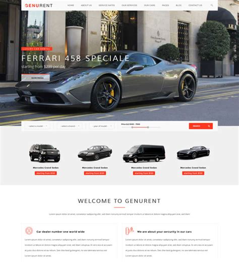 car html template 20 best car rental taxi website templates free premium