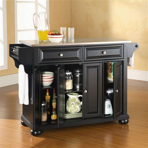 alexandria stainless steel top kitchen island in black crosley furniture alexandria stainless steel top kitchen