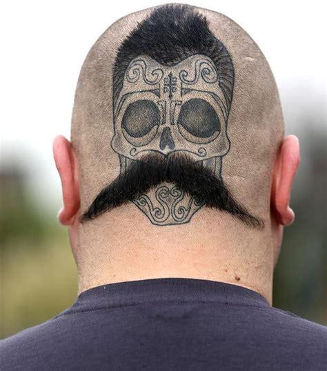 tattoo back head tatt s a good idea man grows a tache on the back of his