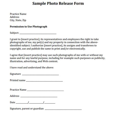 photography release form sle photo release form courtesy of dr eric garcia and