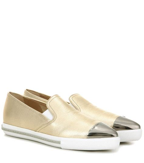 Sneaker Slip On Miu Miu 7346 miu miu leather slip on sneakers pirite modesens