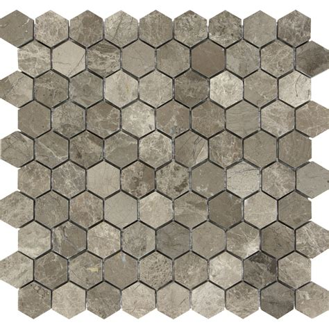 Honeycomb Mosaic Floor Tiles by Shop Anatolia Tile Silver Creek Honeycomb Mosaic Marble