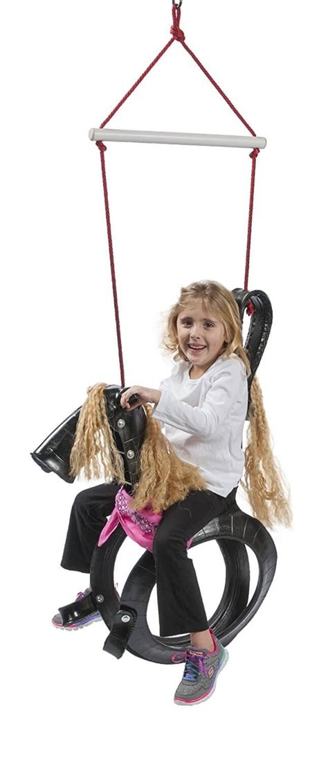 recycled tire swing horse eco friendly playgrounds insteading