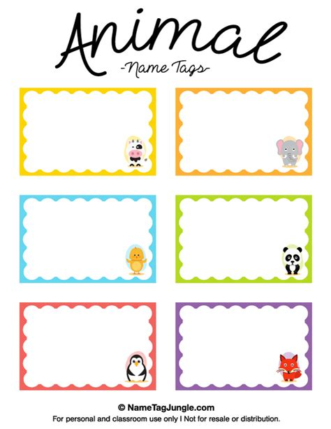 stuffed animal name card template free printable animal name tags the animals include a cow