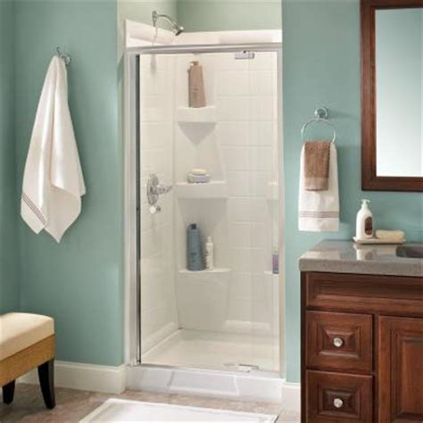 Delta Glass Shower Doors Delta Lyndall 36 In X 66 In Semi Framed Pivoting Shower Door In Polished Chrome With Clear