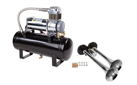 air horn kit for trucks two trumpet with 12 volt heavy duty 150 psi compressor ebay