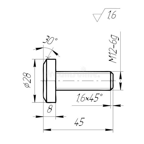 bolt detail drawing engineering drawing the bolt on a white background stock