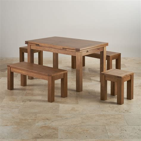 rustic oak dining bench rustic oak extending dining table 2 benches and 2 stools
