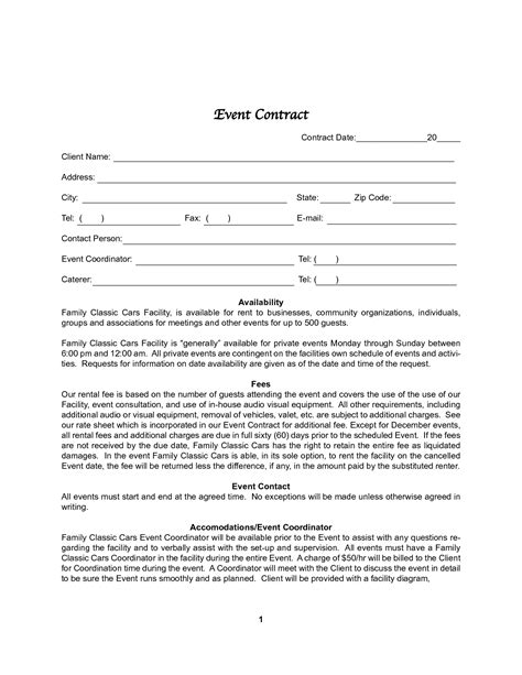 Event Contracts Printable Contracts Event Contract Template