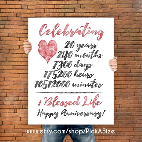 20th Wedding Anniversary What Gift by 20th Anniversary 20 Year Anniversary Gift Print Wedding