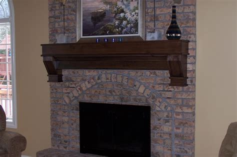 Fireplace Mantels On Brick by New Wood Mantel Existing Brick Mantel Traditional