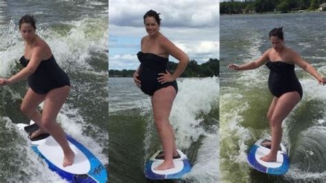 speed boat while pregnant mum wakeboards while 40 weeks pregnant