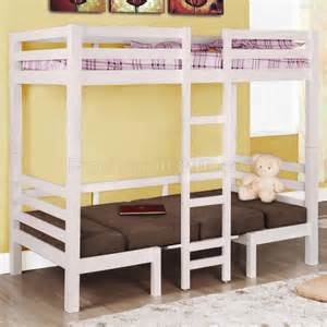 Bunk Bed Table White Finish Modern Convertible Loft Bunk Bed