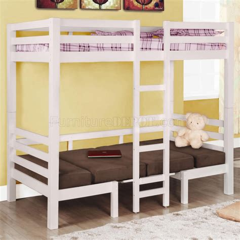 Convertible Bunk Bed White Finish Modern Convertible Loft Bunk Bed