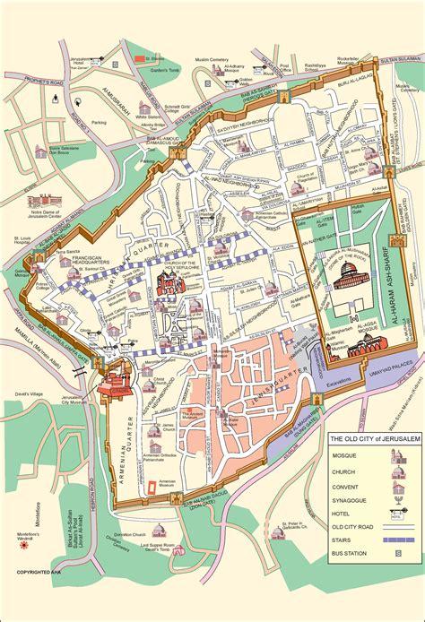 map of city of jerusalem jerusalem city center map