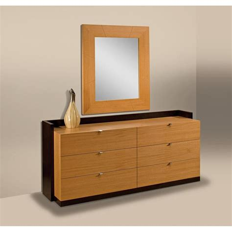 custom modern cherry wood dresser with mirror and 6 drawer