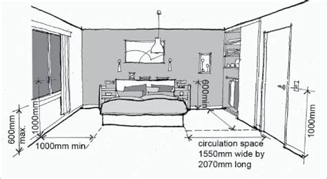 Distance From Floor To Door Knob - bedroom circulation shows distances required for easy