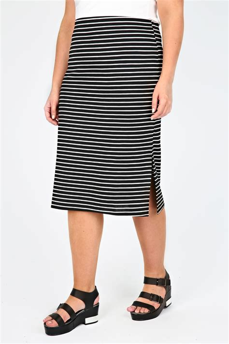 black white stripe midi pencil skirt plus size 14 16 18