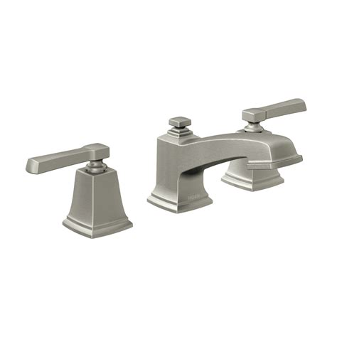 brushed nickel faucets bathroom shop moen boardwalk spot resist brushed nickel 2 handle