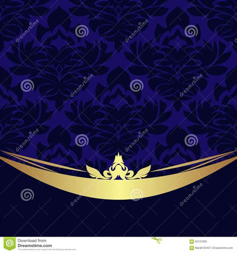 navy blue background decorated the golden royal border royalty free elegant floral ornamental background golden decor on blue