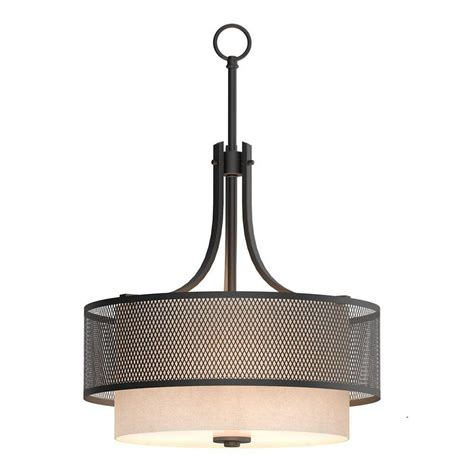 3 Light Pendant Fixture Home Decorators Collection 3 Light Bronze Mesh Pendant With Inner Fabric Shade 17108 The