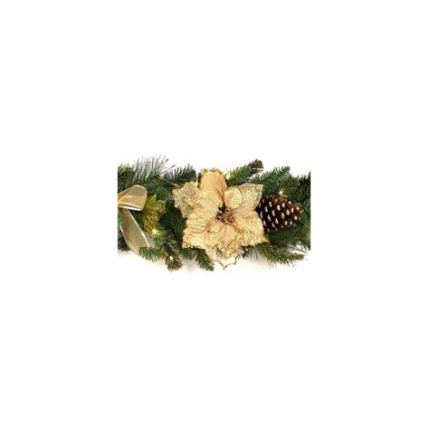 premier traditions christmas lights premier pre lit gold poinsettia garland from lights