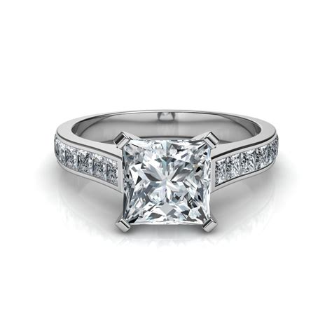 princess cut engagement ring with 16 side diamonds