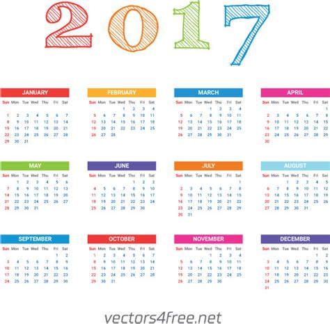Calendar Template Illustrator by 2017 Calendar Template Vector Free Vector In Adobe