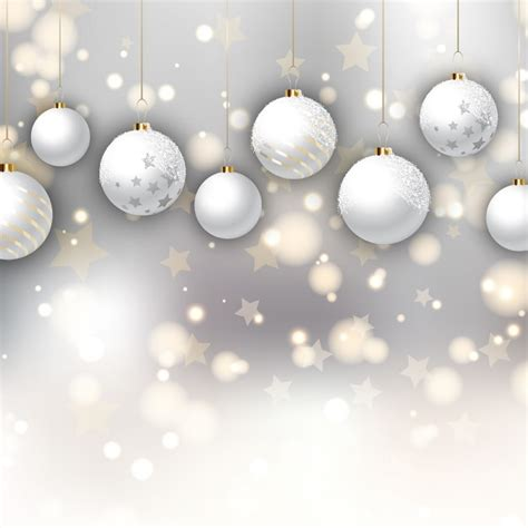 white christmas balls on a background with stars vector