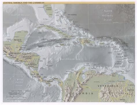central america and the caribbean physical map caribbean map